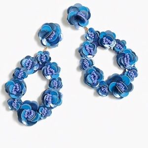 NWT JCREW BLUE BLOSSOM HOOPS